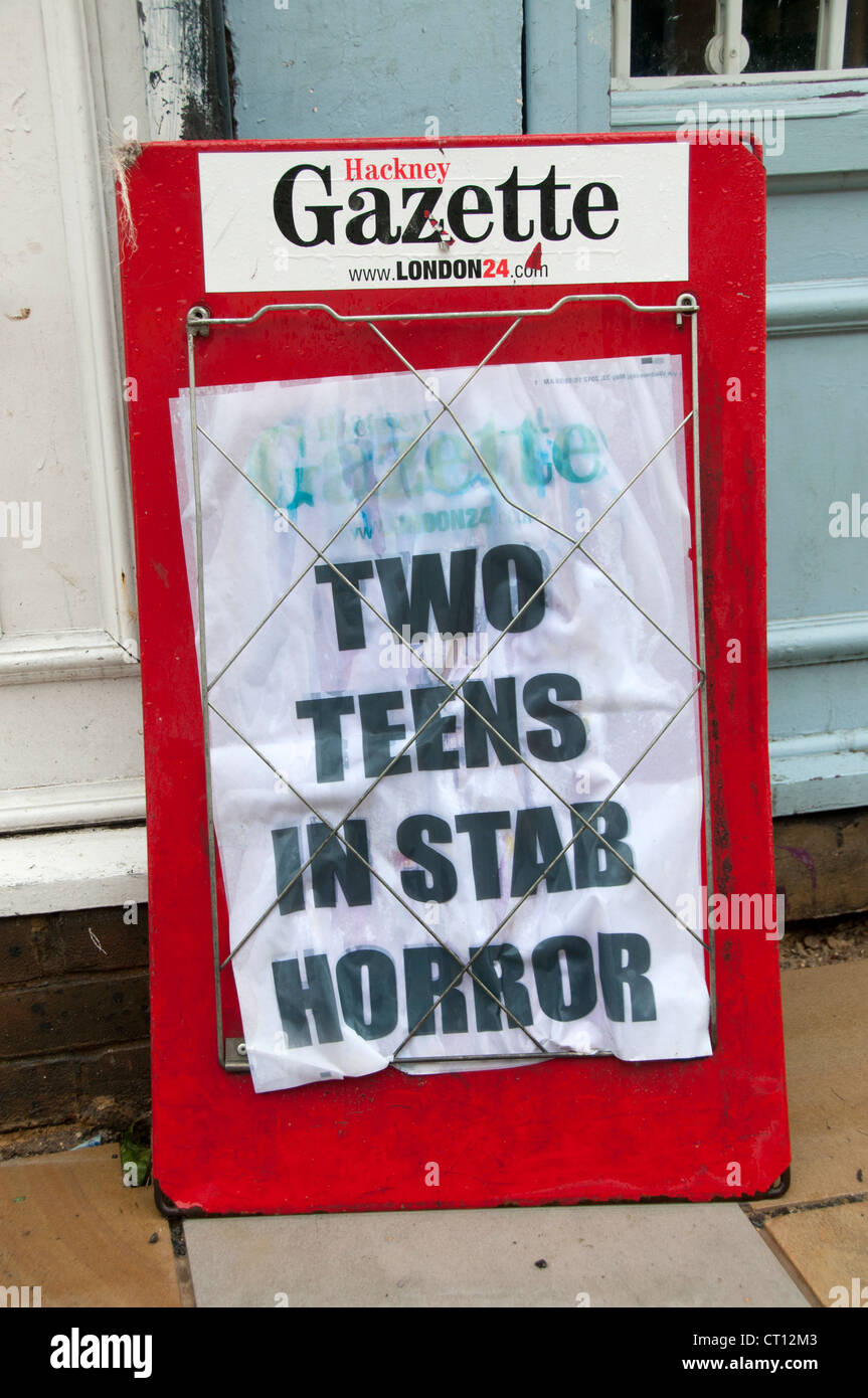 Newspaper Headline from Hackney Gazette saying Two Teens in Stab Horror - Stock Image