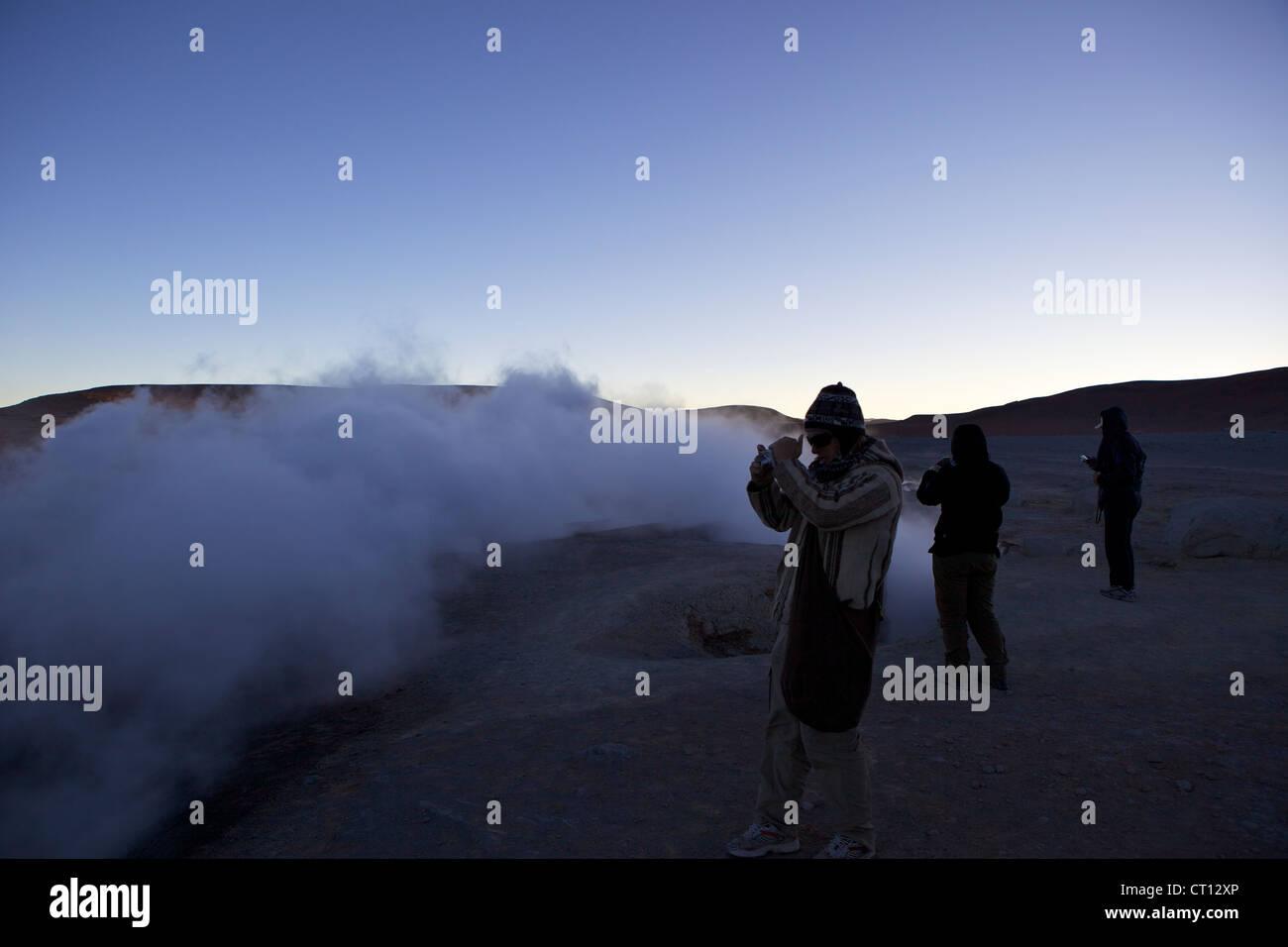 Fumaroles & Geysers of Sol de Manana, Southwest Highlands, Bolivia, South America - Stock Image