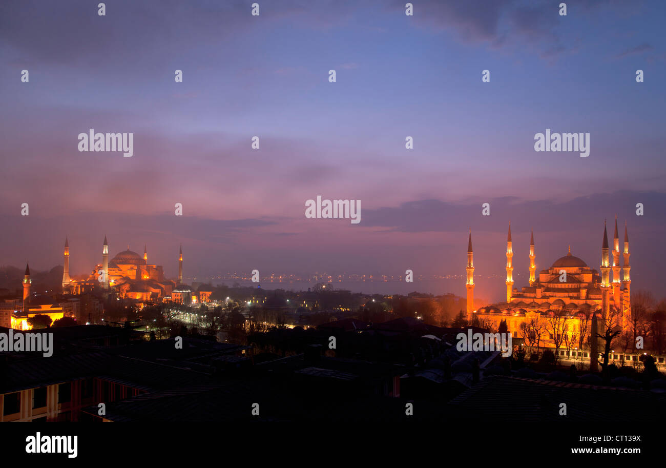 Aerial view of Istanbul lit up at night - Stock Image