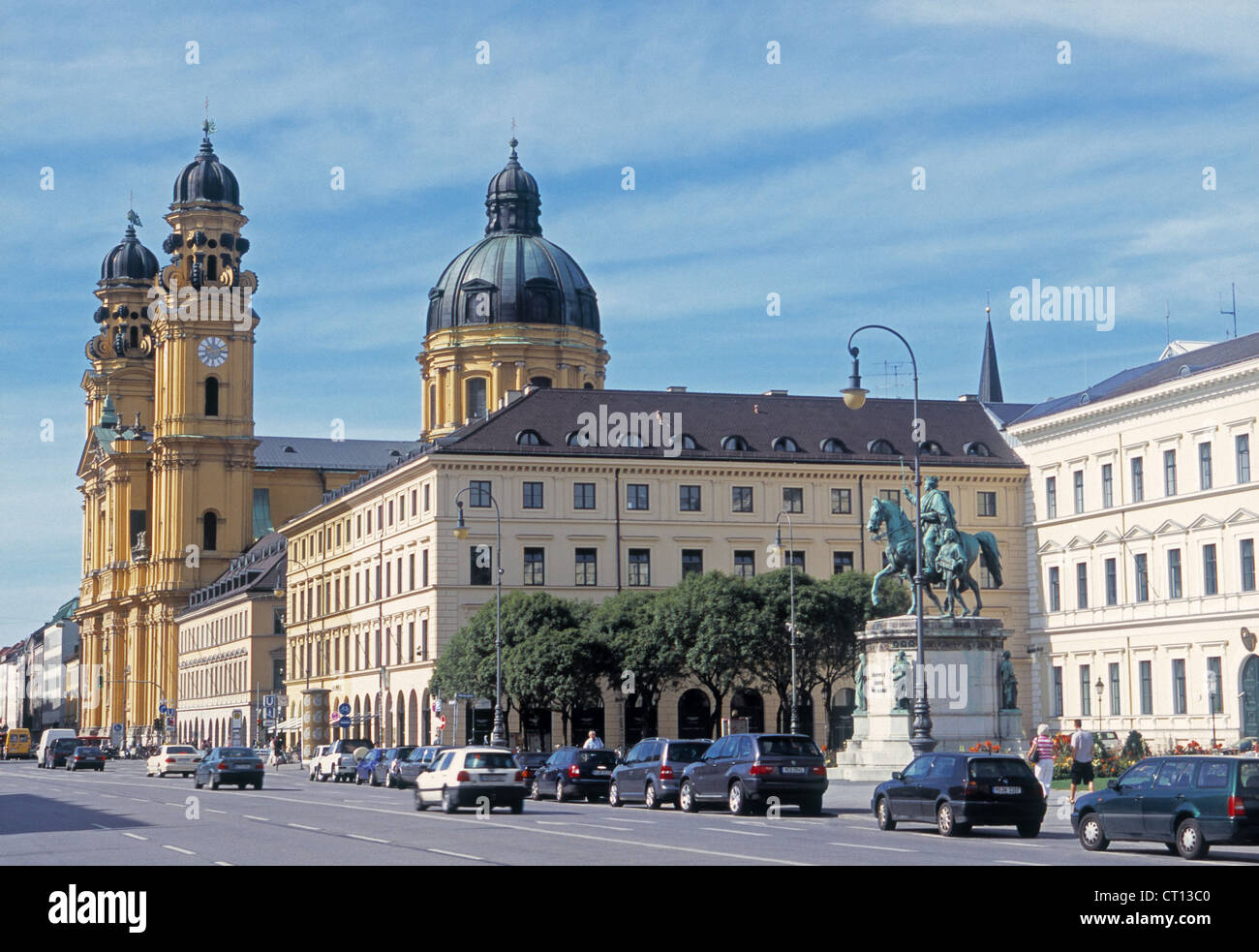 The Theatinerkirche and ministerial buildings in Munich - Stock Image