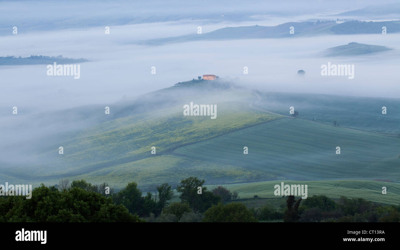 Tuscany countryside. Pienza, misty dawn view across Val d'Orcia - Stock Image