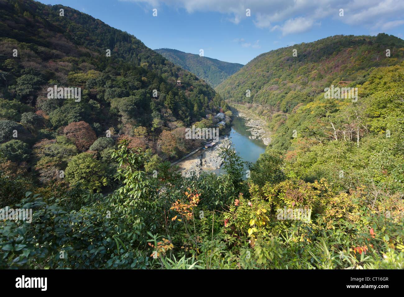 Arashiyama landscape and Hozu river, Kyoto, Japan - Stock Image