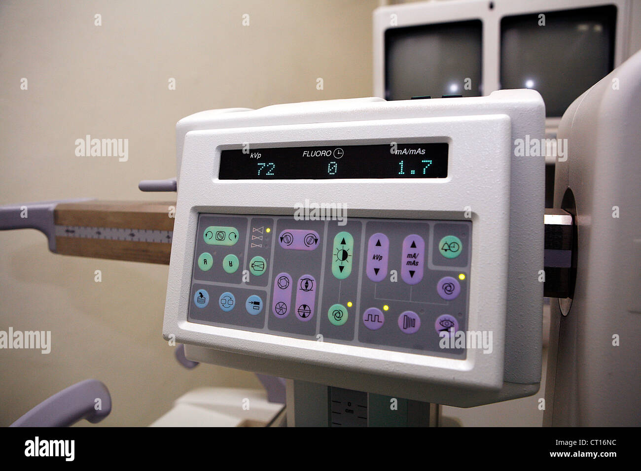 Close up of the control panel to an ultrasound imaging system. - Stock Image