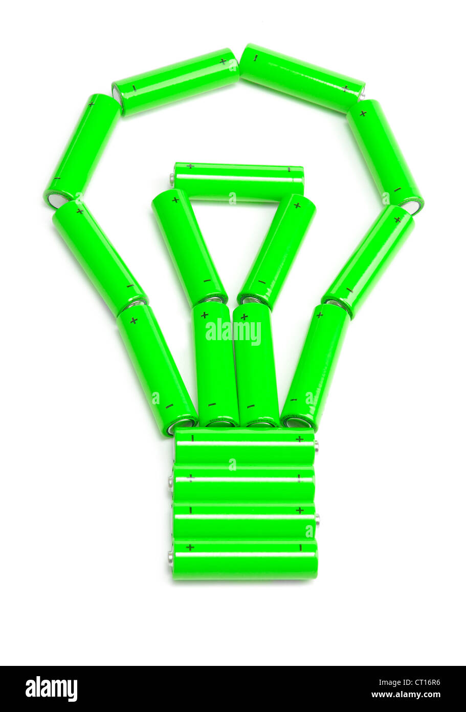 green batteries arranged in a light bulb - Stock Image