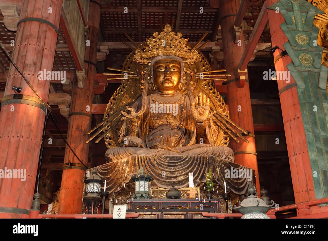 amida buddha giant metal statue in Todaiji temple, Nara, Japan Stock Photo