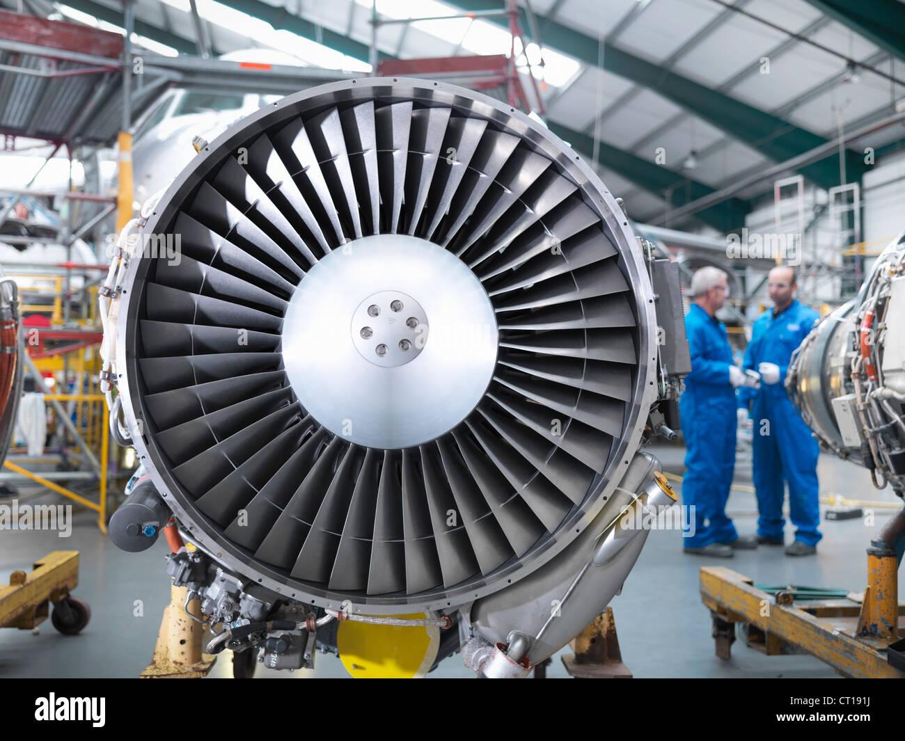 Close up of airplane engine - Stock Image
