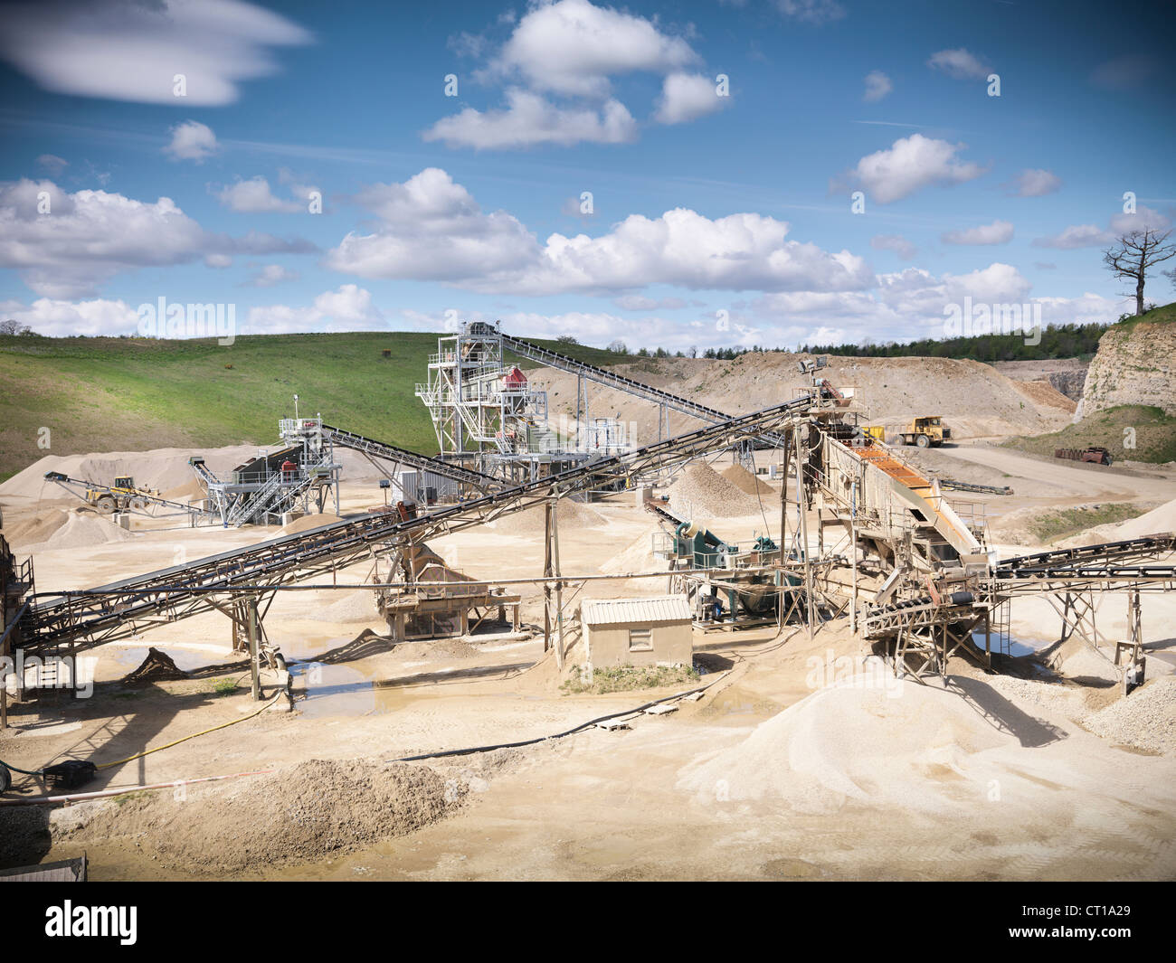 Aerial view of conveyor in quarry Stock Photo