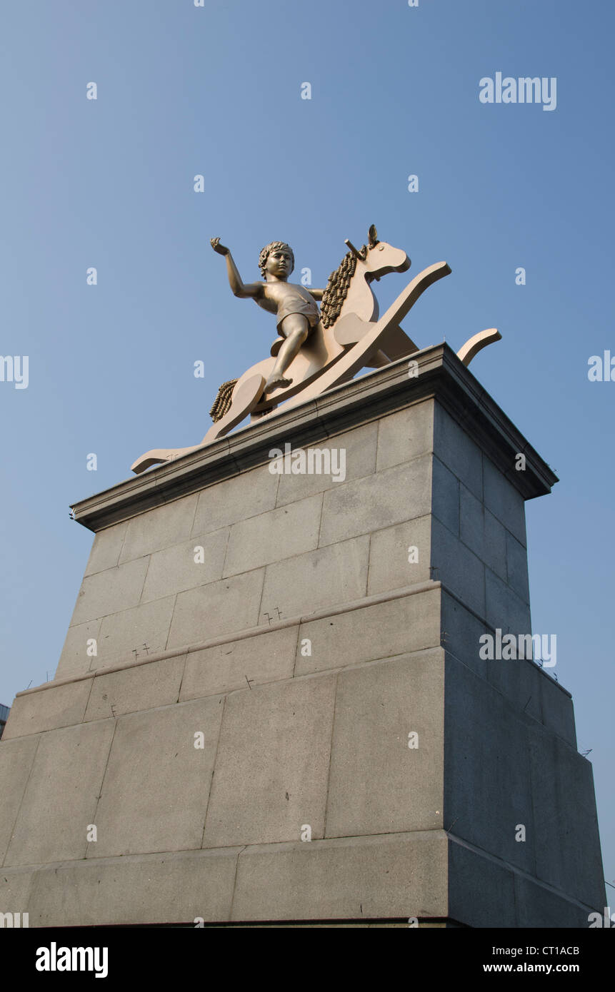 Fourth plinth rocking horse - Stock Image