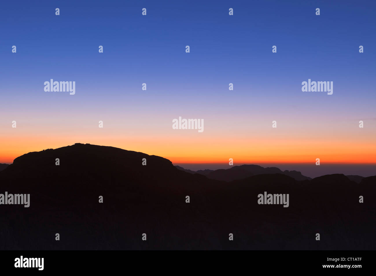 Sunset view from the summit of Mount Sinai, Egypt - Stock Image