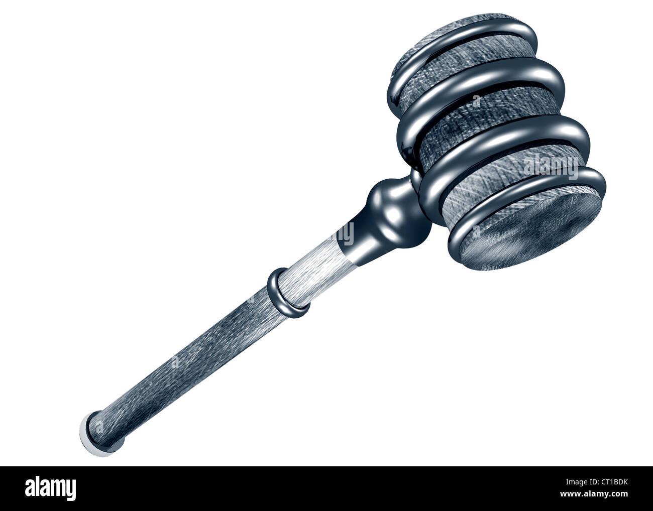 auction hammer or gavel on white background - Stock Image