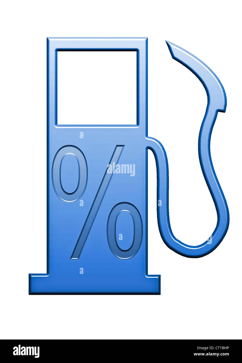 percentage sign on a symbolic gas pump Stock Photo