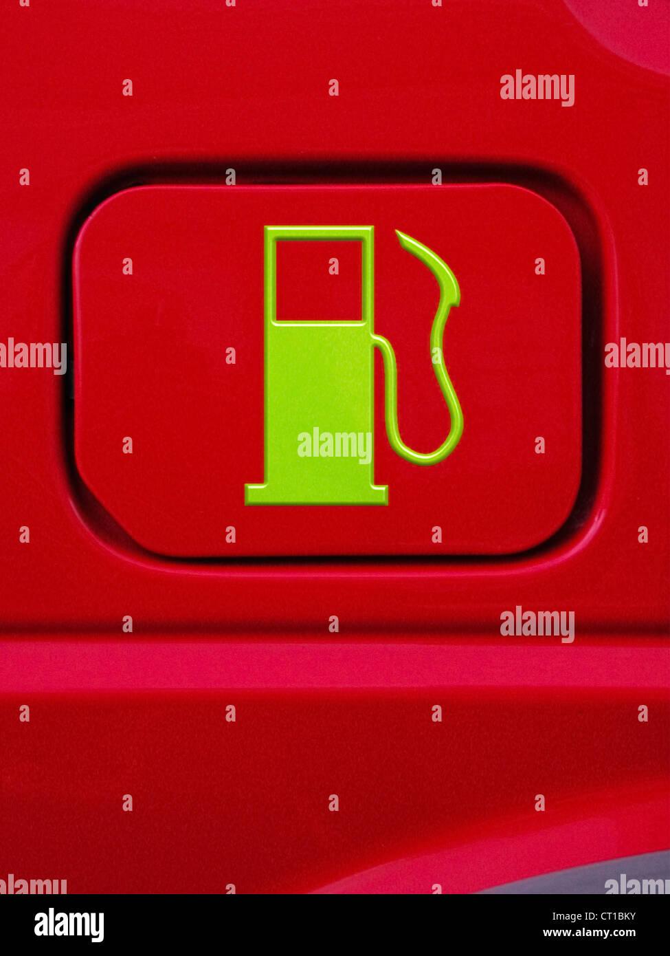 Symbol of a fuel nozzle on a fuel cap - Stock Image