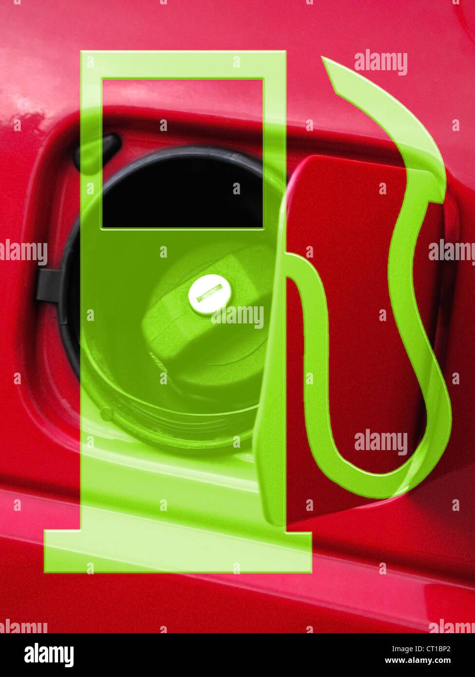 Symbol of a fuel nozzle in front of a fuel cap - Stock Image