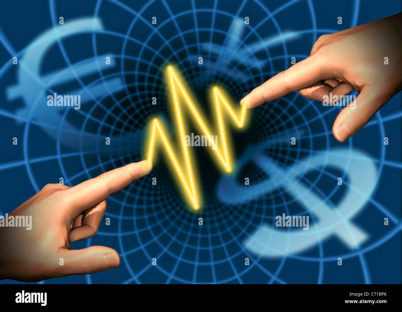 virtual hands connected by an electric spark in front of currencys - Stock Image