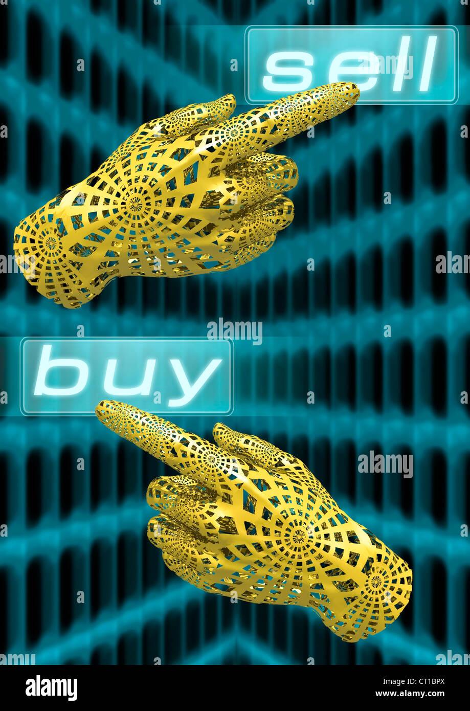 virtual hands trade stocks online - virtuelle Hand bedient Touchscreen mit Kauf- und Verkaufsbefehlen - Stock Image