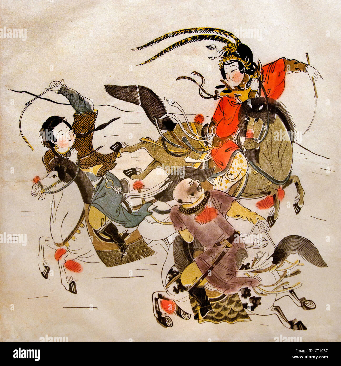 Three Equestrians Qing dynasty (1644–1911) Woodblock print color on paper Chinese China - Stock Image