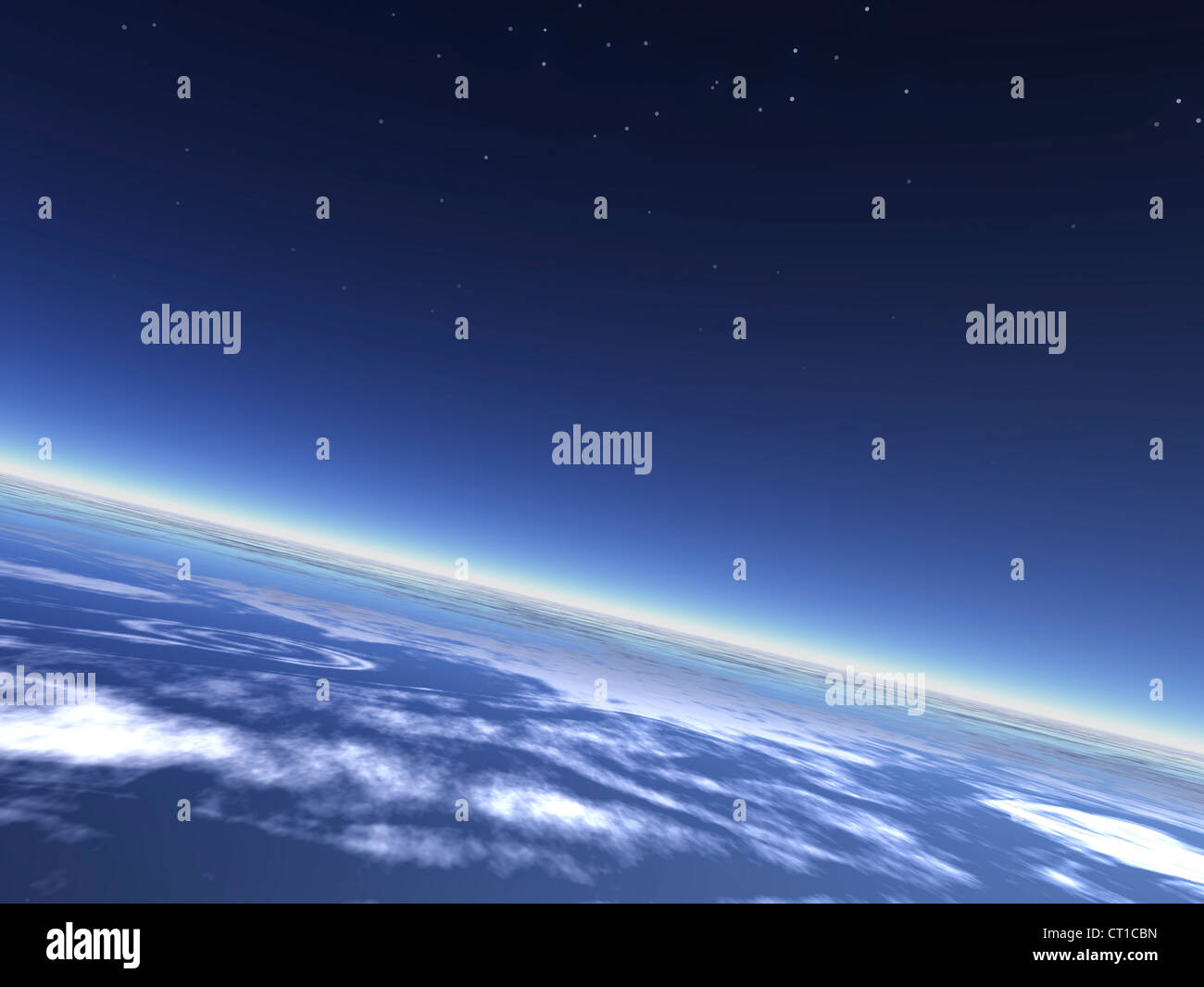 blue planet earth atmosphere and night sky - Erdatmosphäre mit Nachthimmel aus dem All gesehen - Stock Image