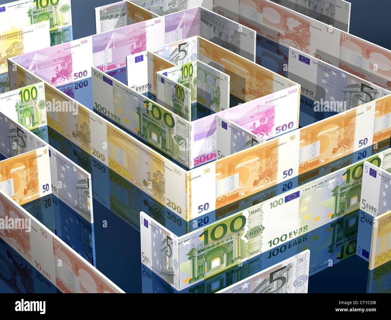 labyrinth made of Euro bills - Labyrinth aus Euroscheinen - Stock Image
