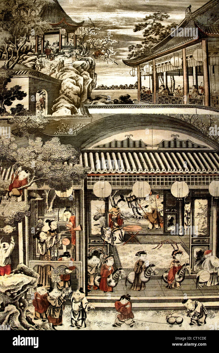 Woodblock Print Color On Paper Chinese China