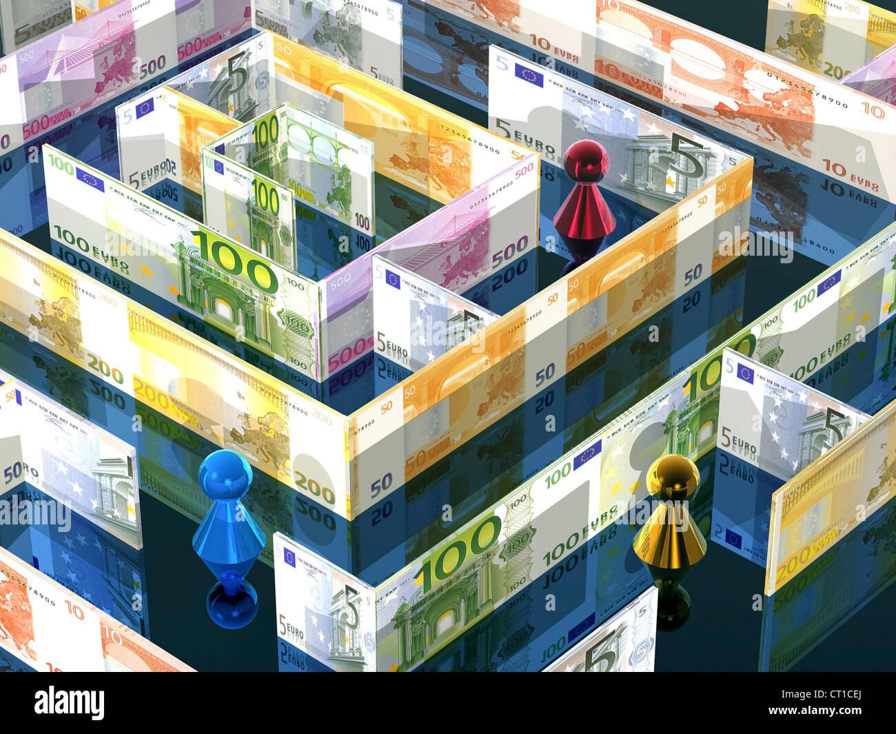 Labyrinth aus Euroscheinen mit Figuren darin - Stock Image