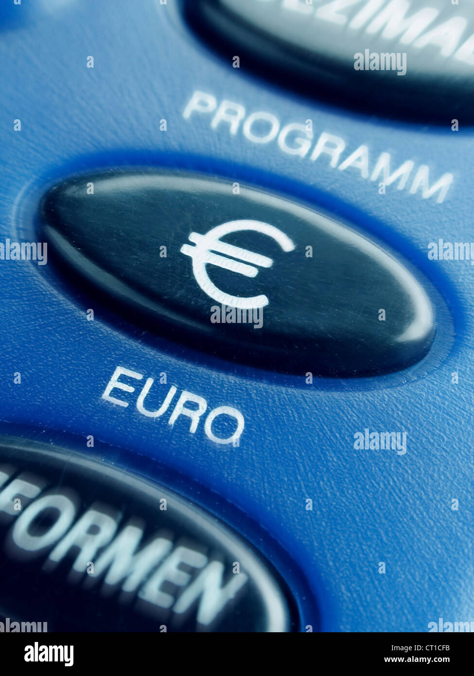 key with Euro sign on a calculator  - Taste mit Eurozeichen € - Stock Image