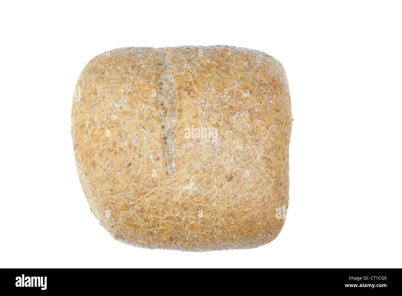 Wholemeal rustic roll on a white background - Stock Image