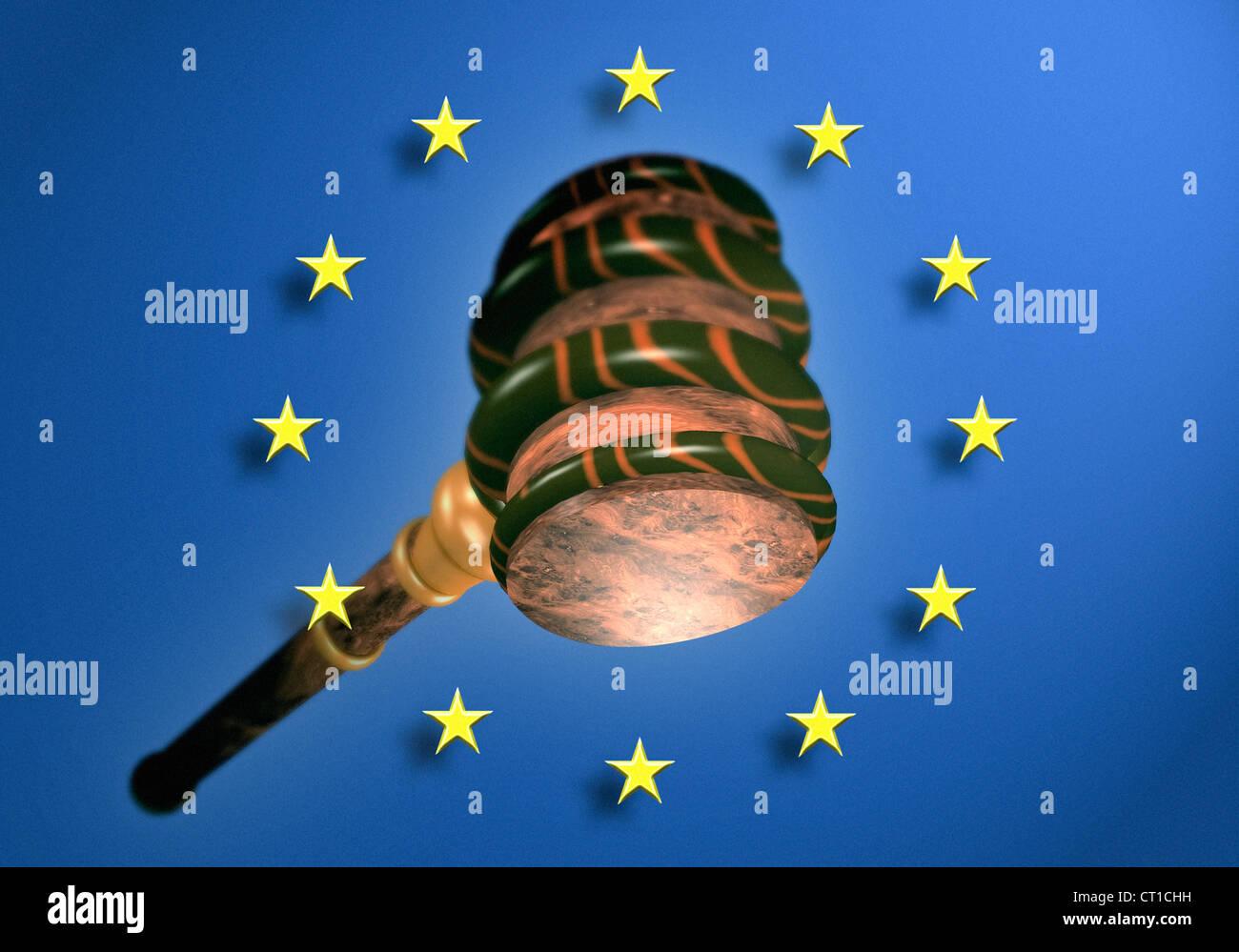 Gavel or auction hammer with European flag - Richter Hammer oder Auktionshammer vor Europa Fahne - Stock Image