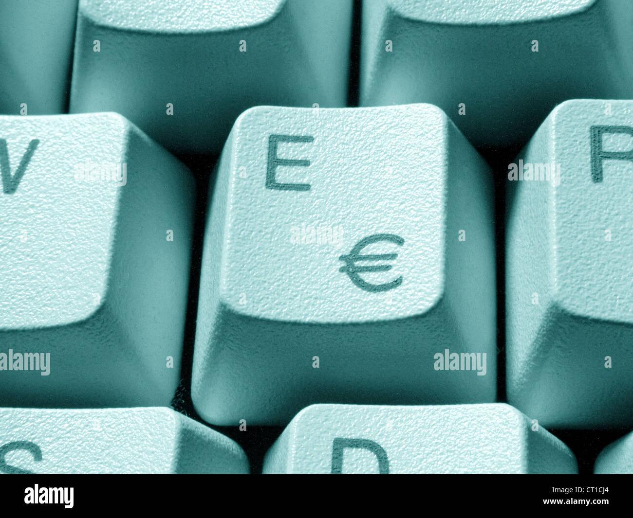 'E' key with Euro sign - E Taste mit Eurozeichen € - Stock Image