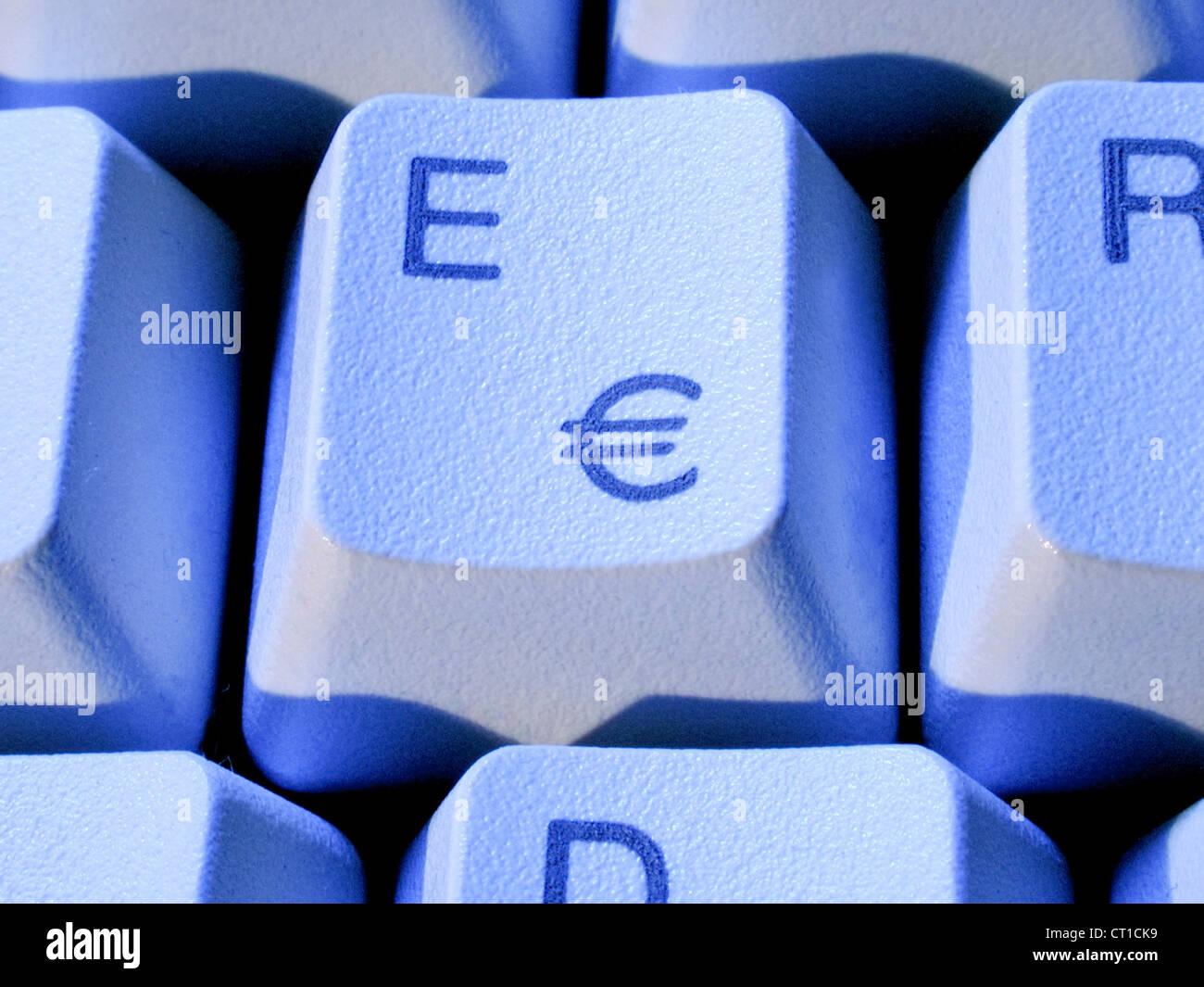 'E' key on keyboard with Euro sign - E Taste mit Eurozeichen € - Stock Image