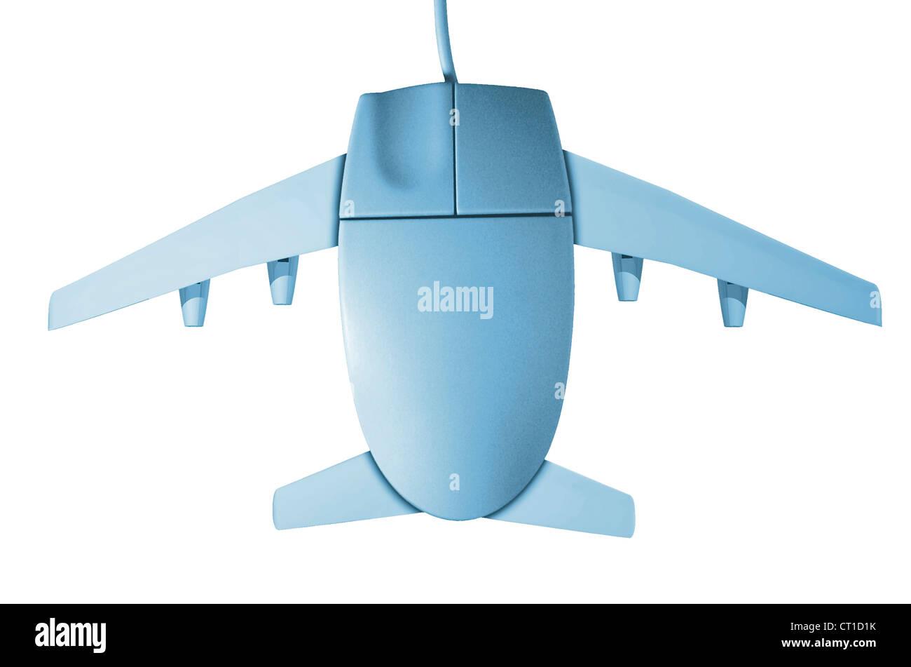 Computer Maus mit Flugzeugflügeln - Stock Image
