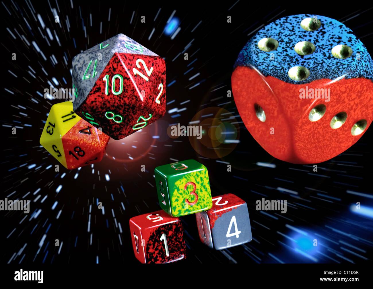Auswahl Spielwürfel verschiedener Form - Stock Image