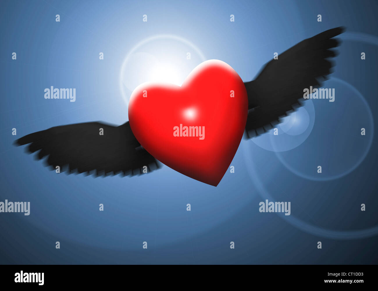 flying heart with black wings in the night Stock Photo
