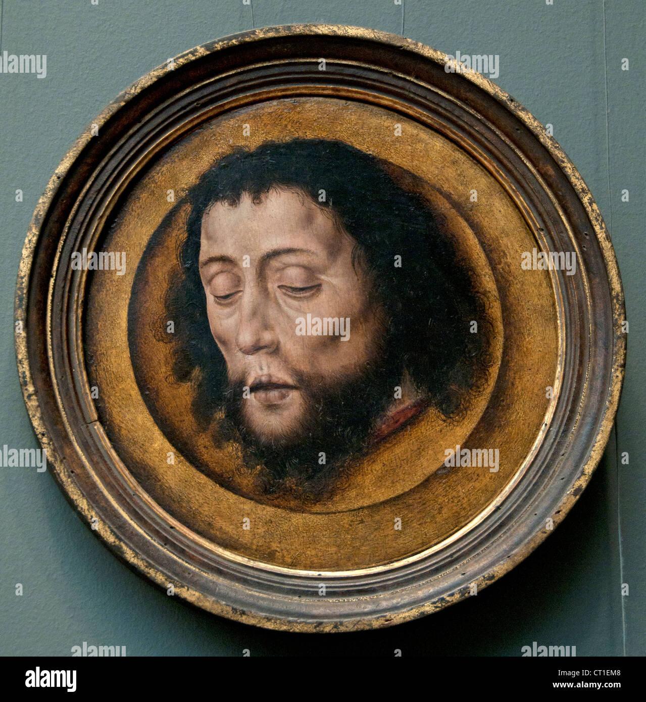 Head of Saint John the Baptist on a Charger 1451 – 1549  Albrecht - Aelbrecht Bouts 145-1549  Dutch Netherlands - Stock Image