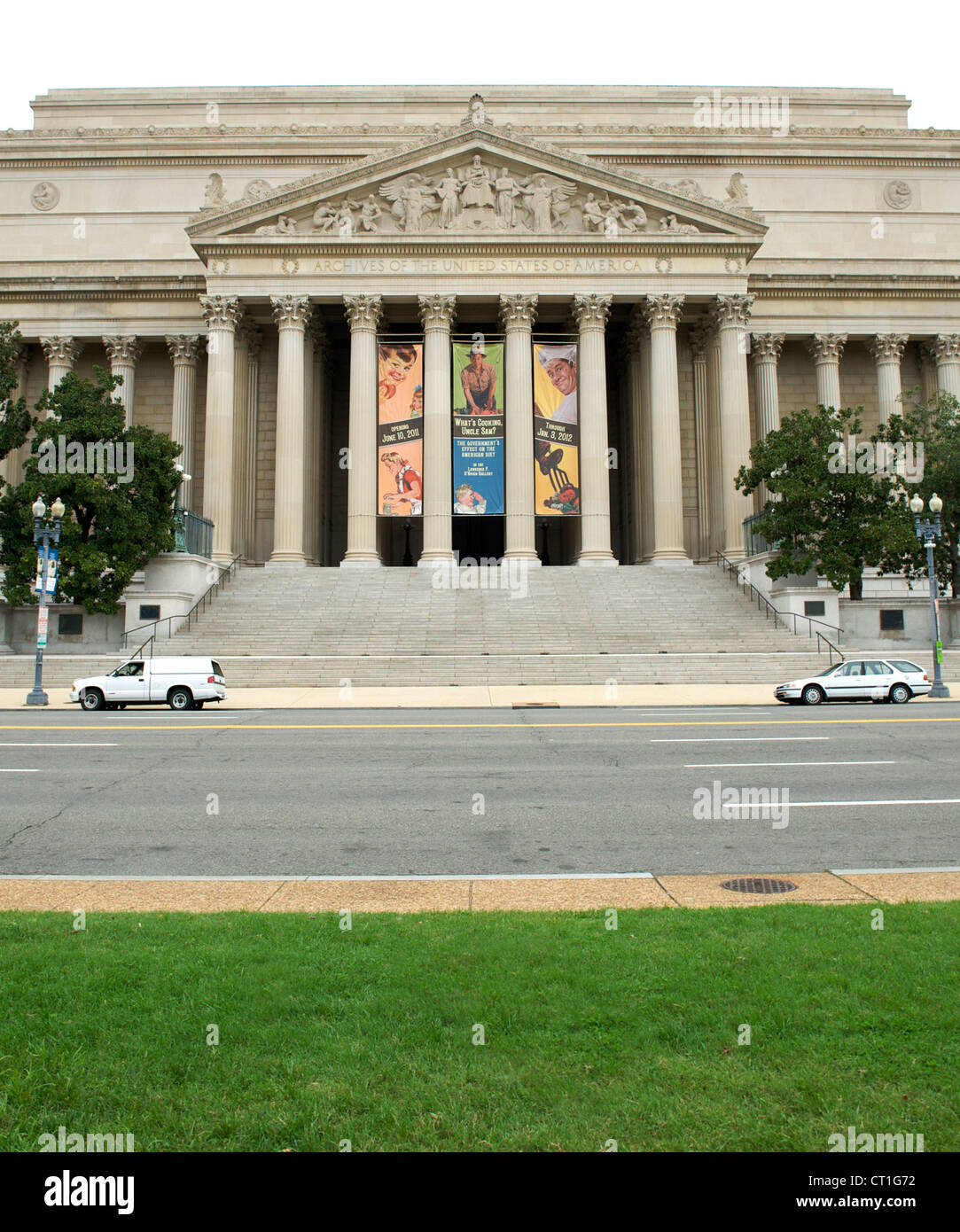National Archives building in Washington DC, USA. - Stock Image