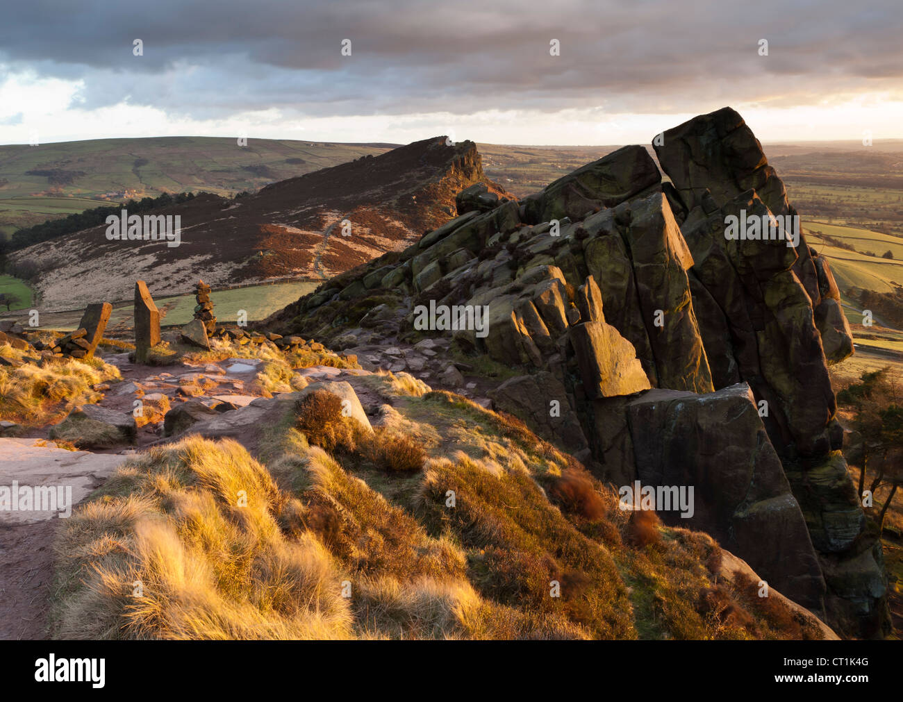The Roaches and Hen Cloud, grit stone ridge, Staffordshire, England, UK - Stock Image