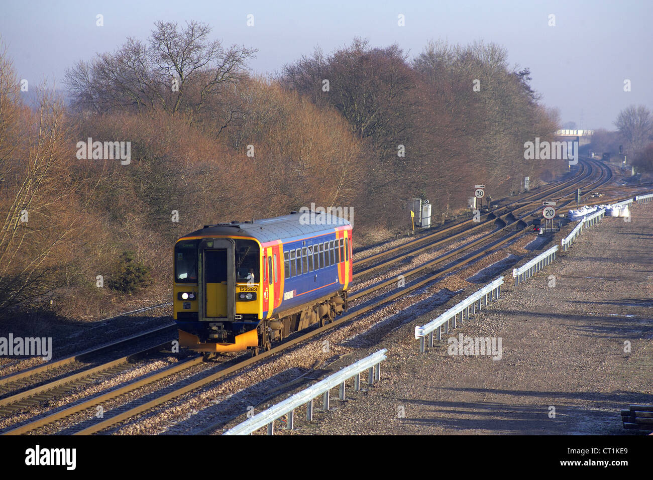 East Midlands train class 153 no 153383 passes through stenson junction with 1K13 1240 Derby to Crewe on 14/01/12. - Stock Image