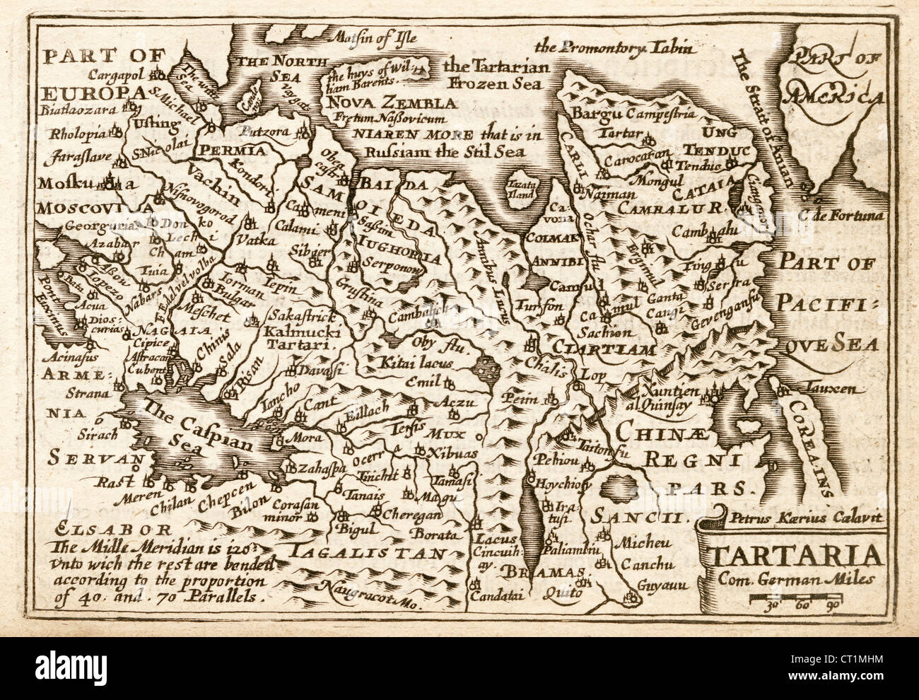 Map of The Tartaria (Tartary) by Petrus Kaerius 1646 from John Speed Prospect of the most Famous Parts of the World - Stock Image