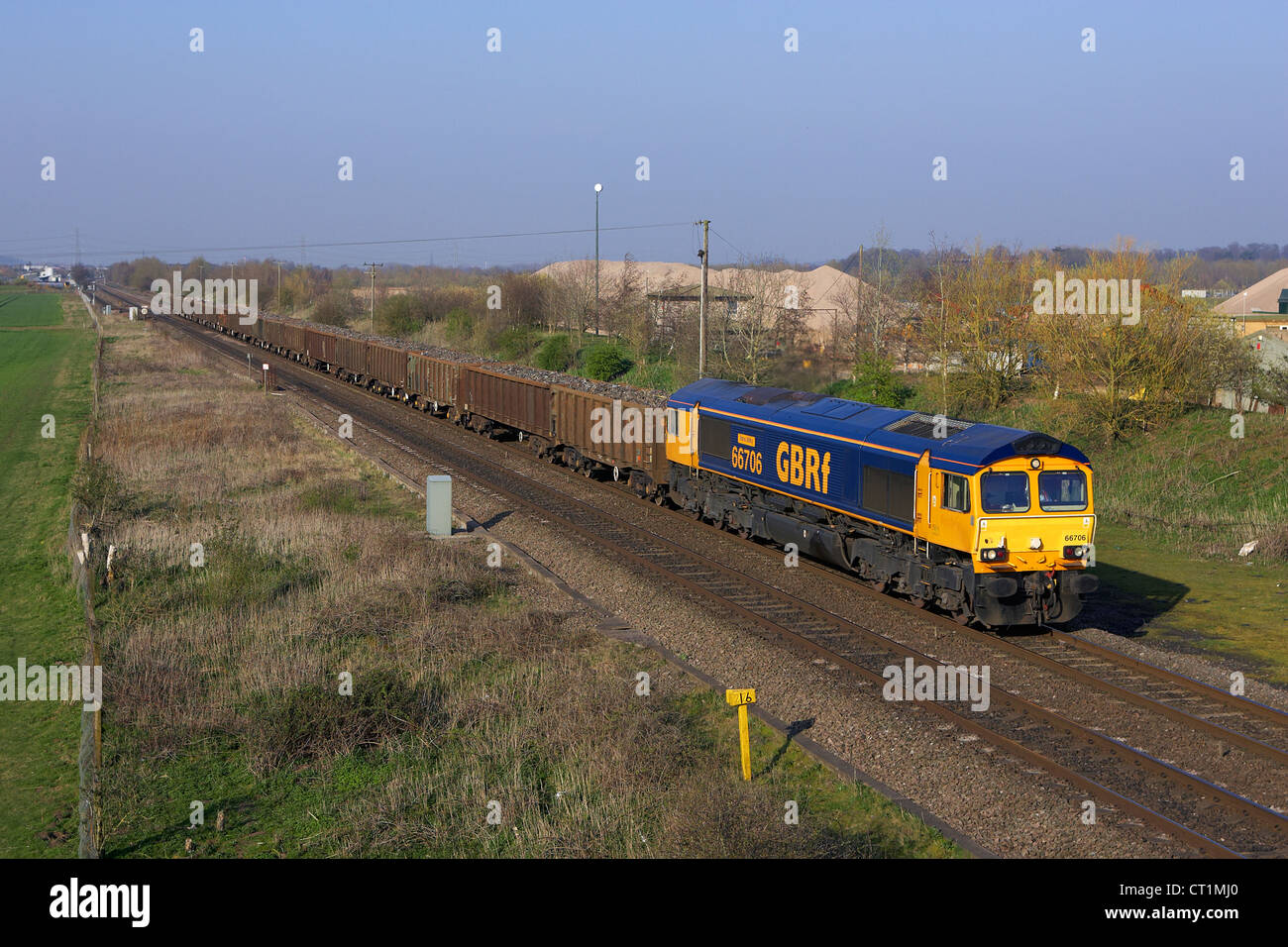 A GBRF great british railfreight scrap train heads south at wycnor juncion - Stock Image
