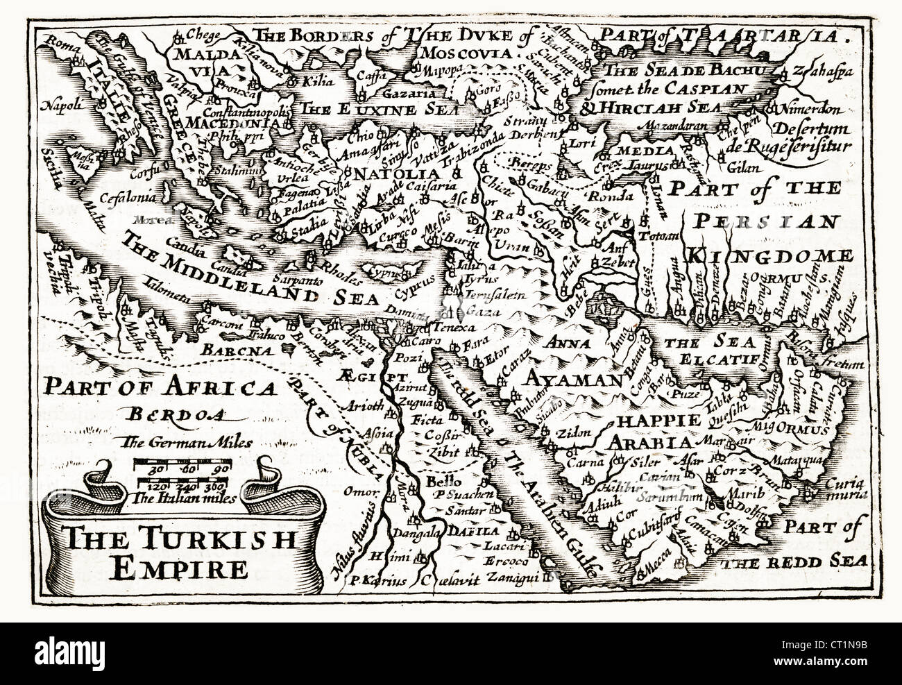 Map of The Turkish Empire by Petrus Kaerius 1646 from John Speed Prospect of the most Famous Parts of the World Stock Photo