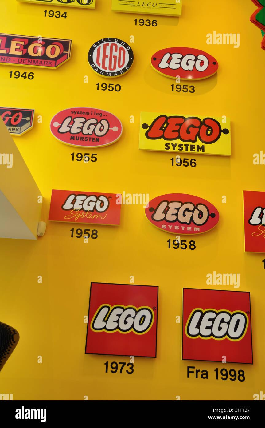 The Lego shop on Stroget street, Copenhagen, Denmark. (Logos - old and new) Stock Photo