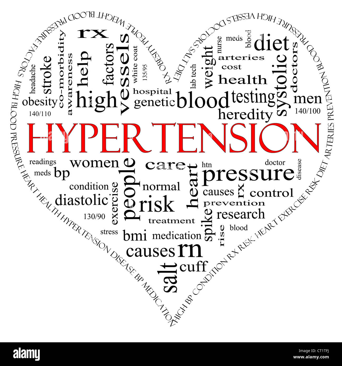 A black and red heart shaped word cloud concept around the word Hypertension including words such as reading, control, - Stock Image