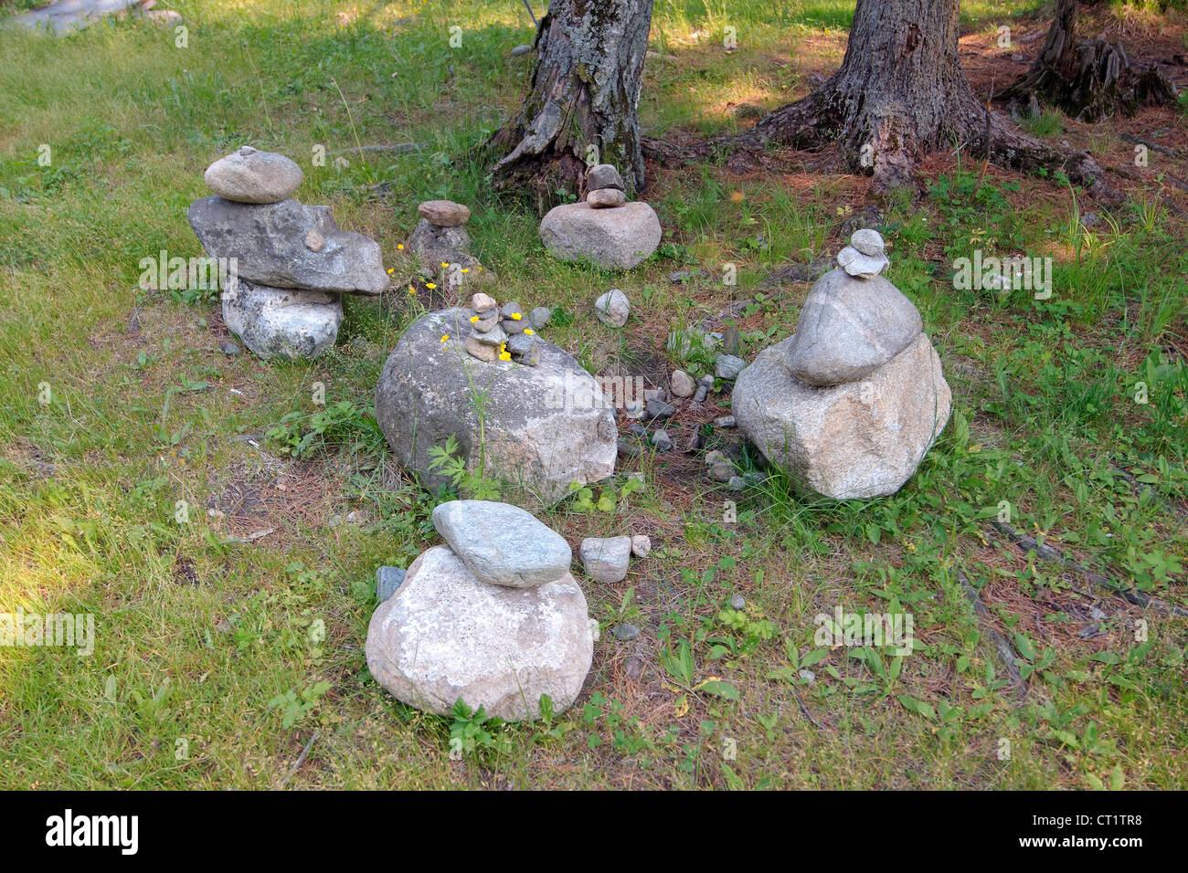 stones of fulfillment of desires, stone garden. Arshan, Tunkinsky District, Republic of Buryatia, Siberia, Russian - Stock Image
