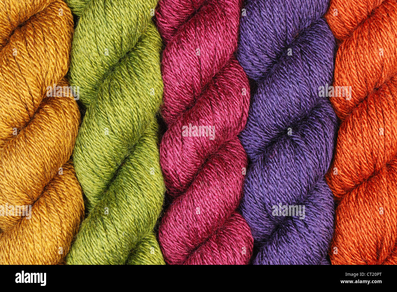 wool yarn twisted skeins for knitting - Stock Image