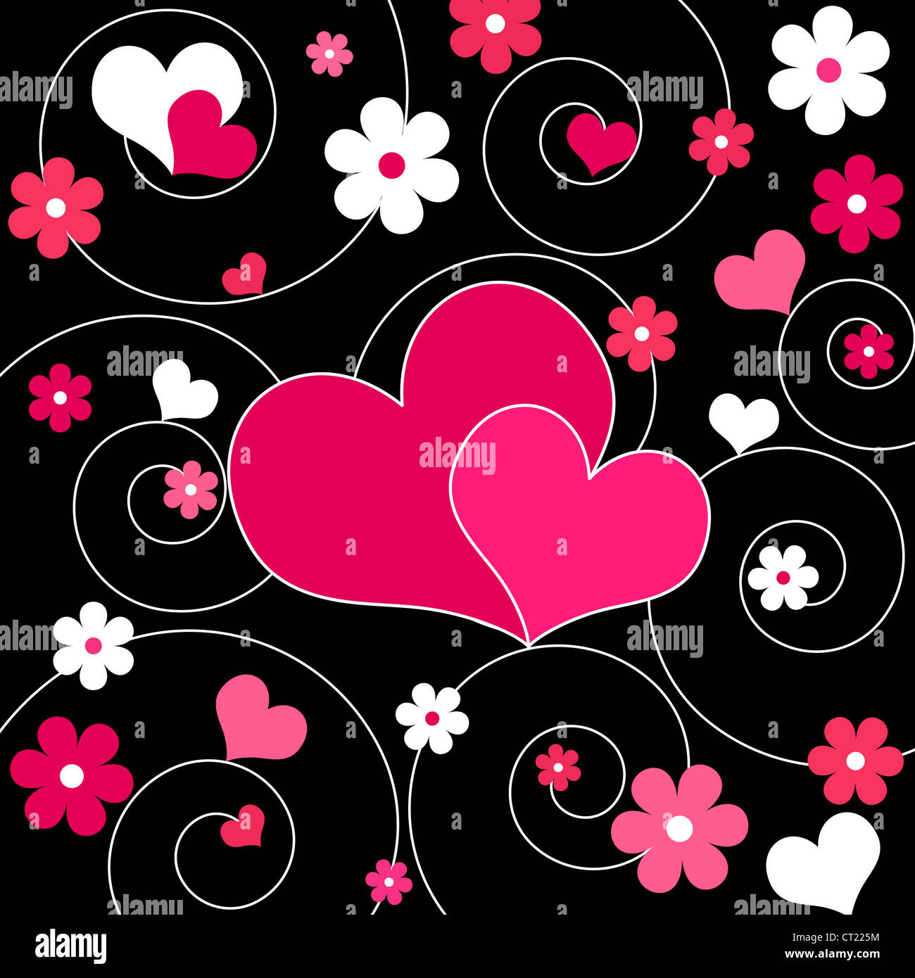 Pair of pink hearts and flowers design Stock Photo