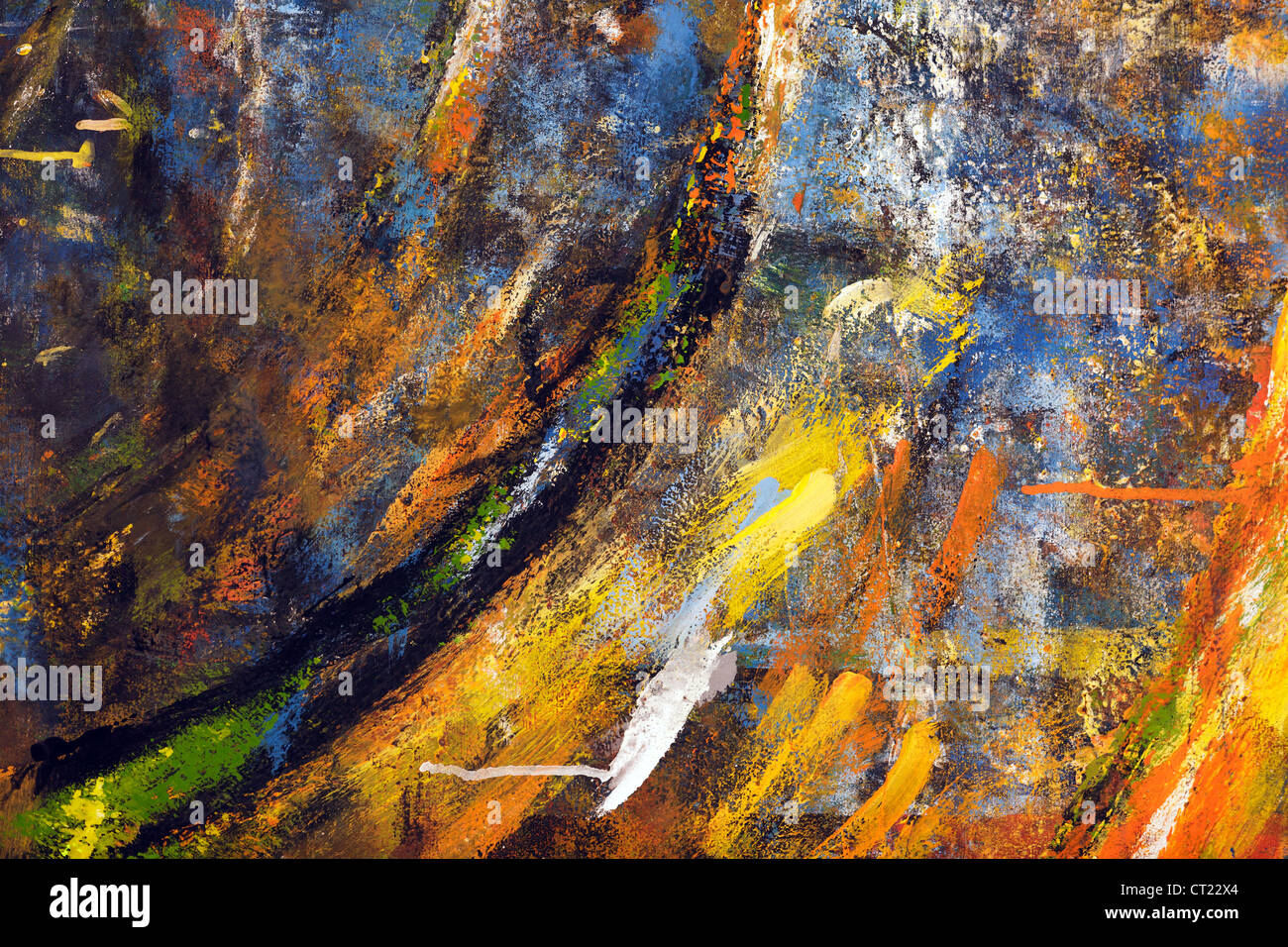 abstract splash of paintings on flat surface Stock Photo