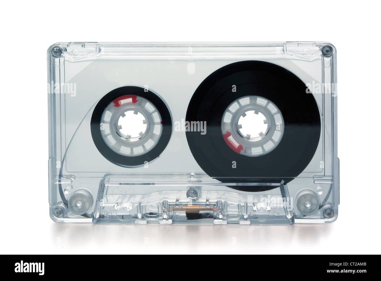 Transparent compact cassette tape isolated on whit - Stock Image