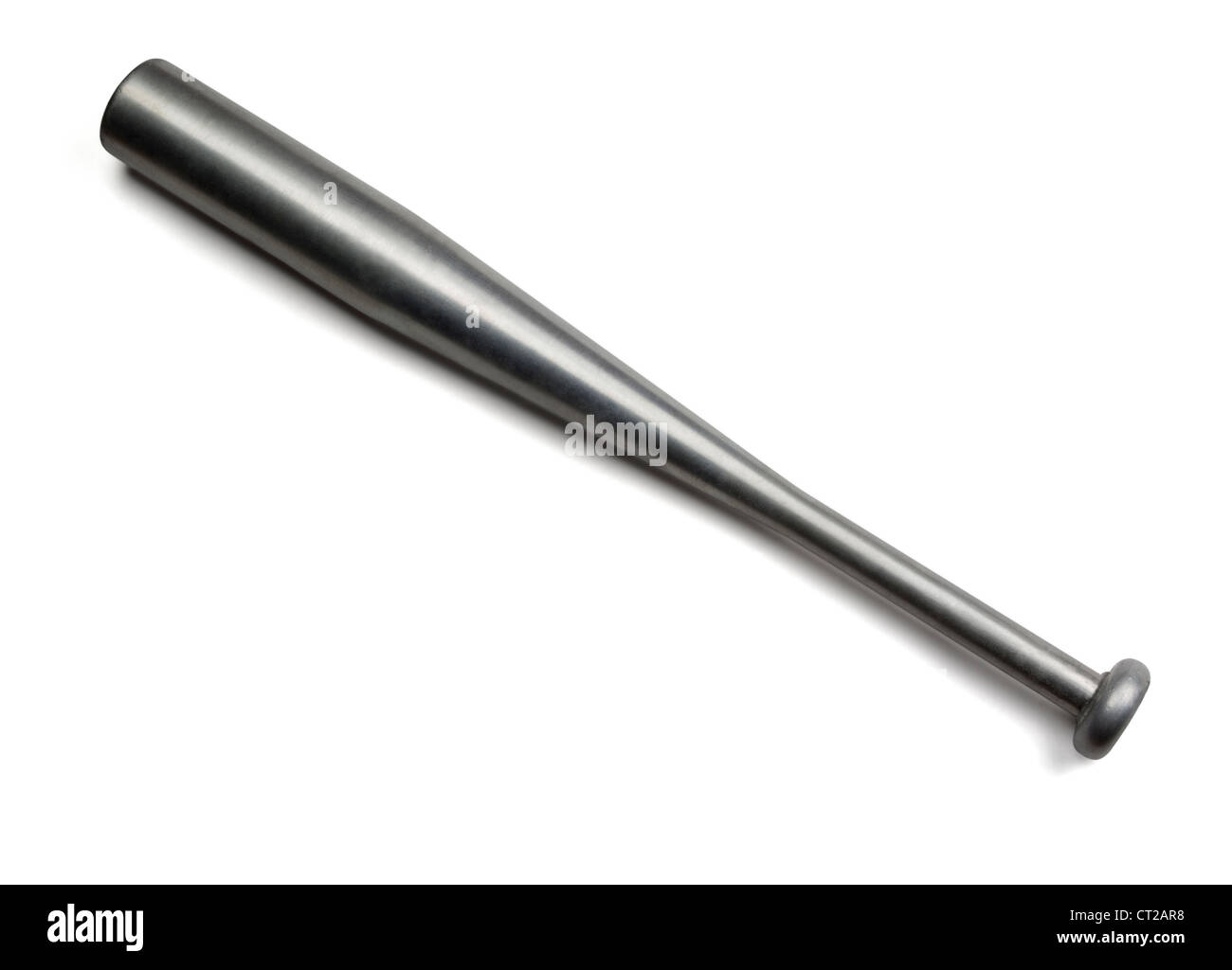 Aluminum baseball bat isolated on white - Stock Image