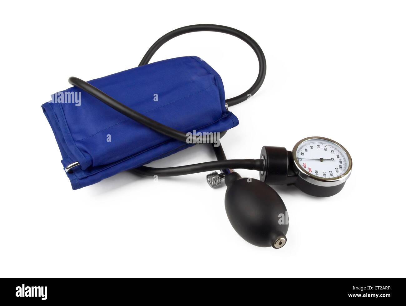Medical sphygmomanometer for blood pressure control isolated on white - Stock Image