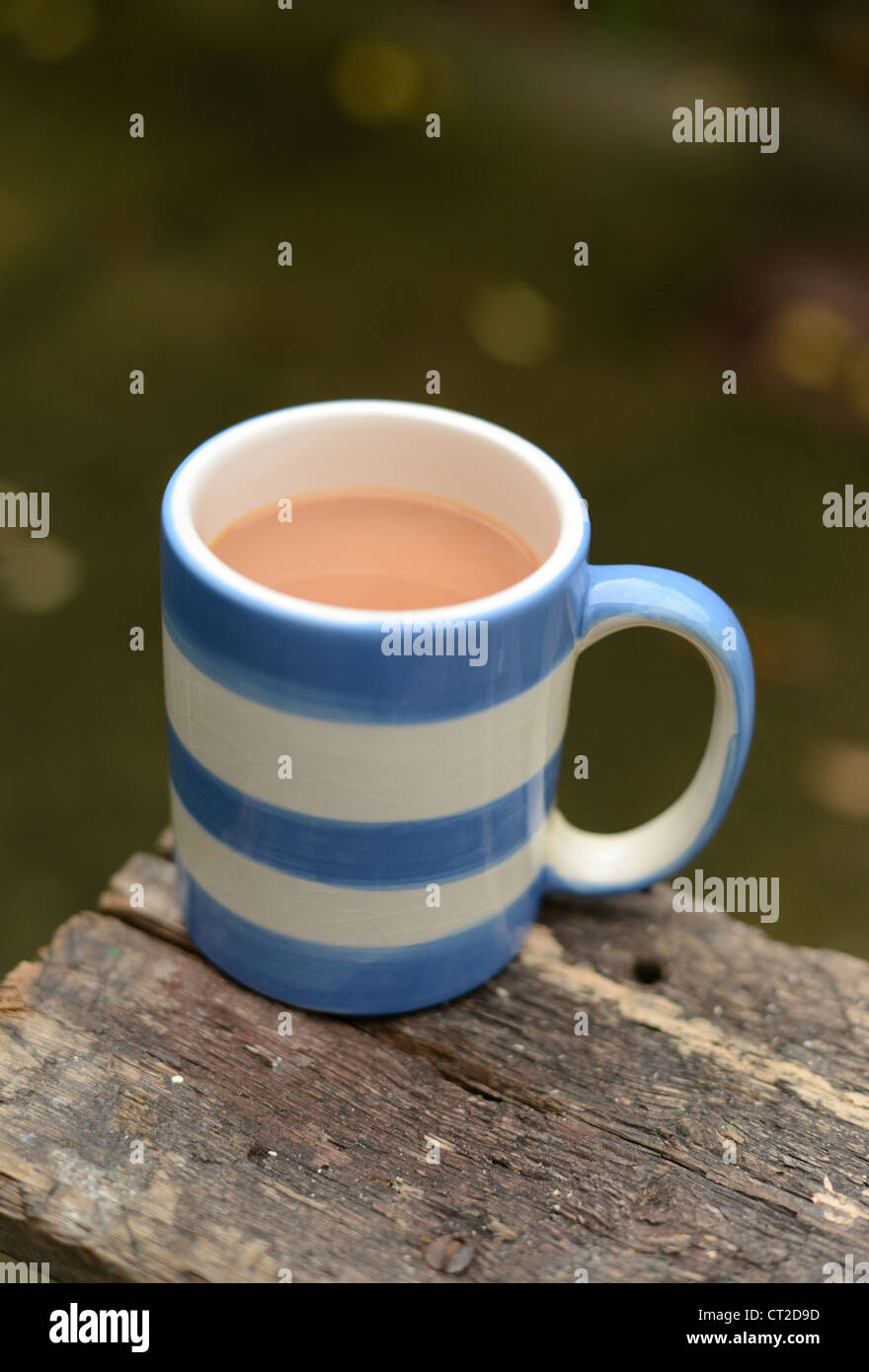 A cup of tea on a builders work horse - Stock Image