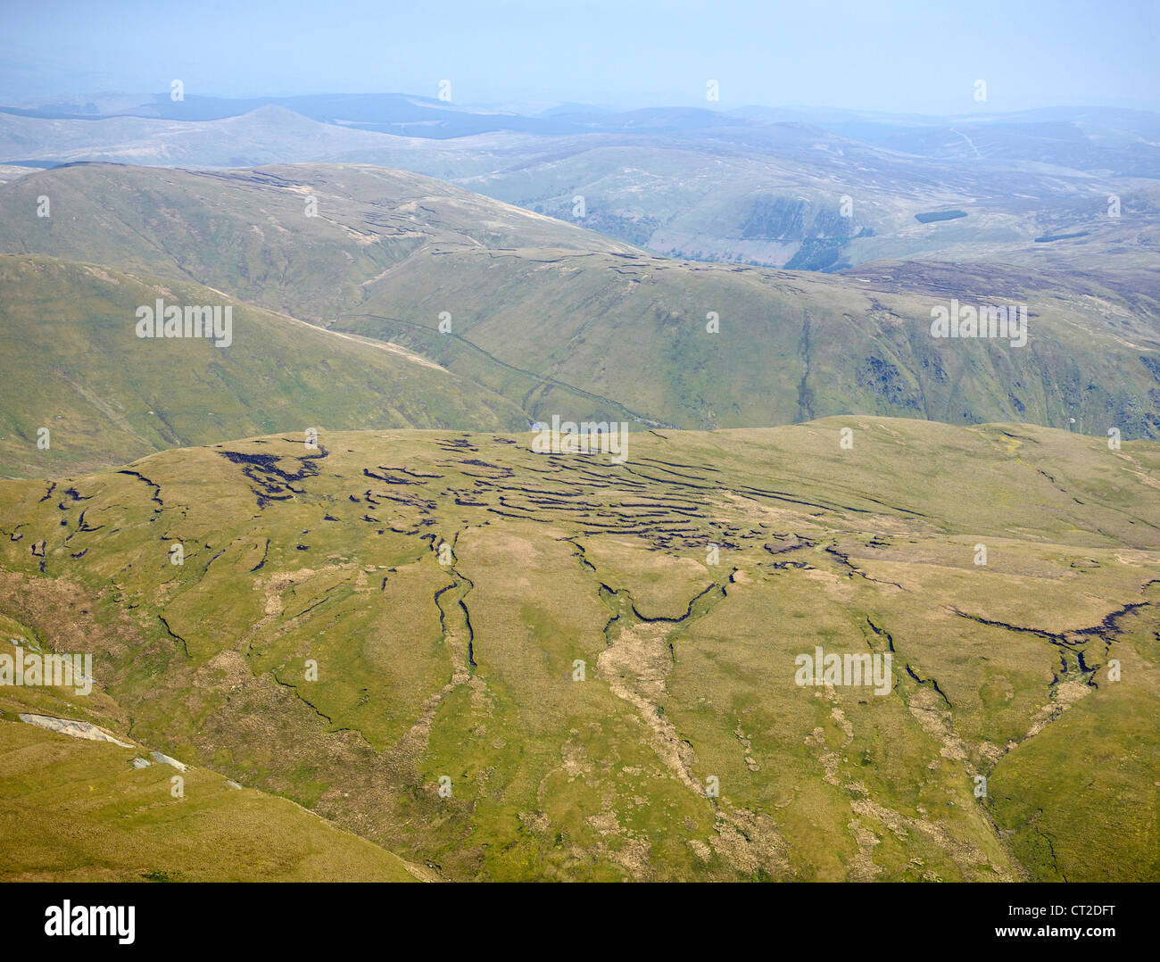 Shropshire Hills, shot from the air, Shropshire, England, UK - Stock Image